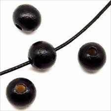 Lot de 50 Perles Rondes en Bois 10mm Noir