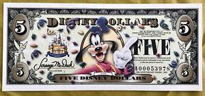 2005 Disney Dollar $5 Goofy 50th Anniversary Uncirculated Serial #A00053978