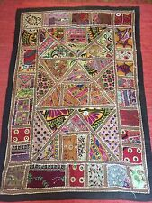 Indien Rajasthan antique miroir brodé mur pendaison patchwork bedstread