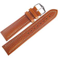 20mm Hirsch Buffalo Mens SHORT Tan Buffalo-Grain Leather Watch Band Strap