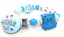 Schnullerkette mit Namen Hippo Nilpferd Kleiner Prinz blau Junge