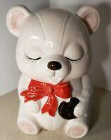 Vintage Made in Japan White Teddy Bear Cookie Jar Biscuit Dish