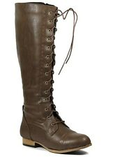Brown Faux Leather Lace Up Knee High Tall Military Combat Boot 5.5 us Wild Diva