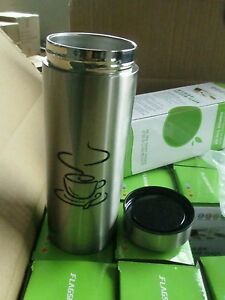 Thermos cup, totally leak proof.  Thermal and insulated.  Travel mug 400ml