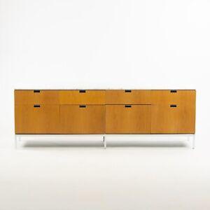 Florence Knoll Vintage Oak and Marble Credenza Cabinet Sideboard Finished Back