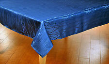 """Elegant Blue/Teal Silky Damask Tablecloth 52""""x 70"""" Rectangle Easy Care Poly"""