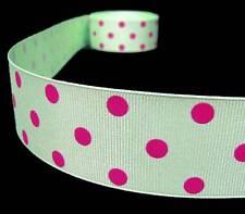 "5 Yards Green Pink Polka Dots Polkadots Grosgrain Ribbon 1 1/2""W"