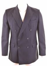 DAKS Mens Double Breasted Blazer Jacket Size 40 Large Navy Blue Wool 023  GH15