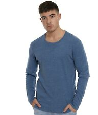 Selected Homme Tom O-Neck Long Sleeve Blue Tee - Size: Large