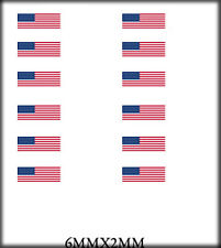BOLEY VEHICLE MODEL DOOR DECALS 1/87 US FLAGS 6MM X 2MM