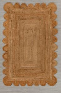 Scallop Rugs 100% Natural braided jute carpet Modern Home Decor Living area rug