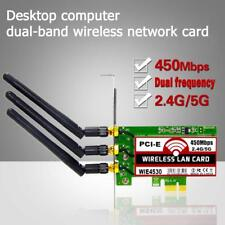 450Mbps Wireless PCI-E WiFi Network Adapter LAN Card for Desktop PC + 3 Antennas