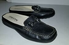 GEOX black leather horsebit buckle mule loafers. 6