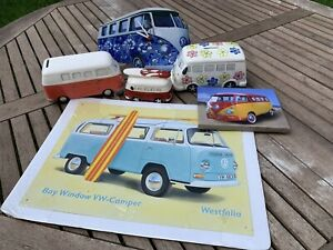 Collection of VW Camper Collectables. Money Box. Clock. Mugs Etc.