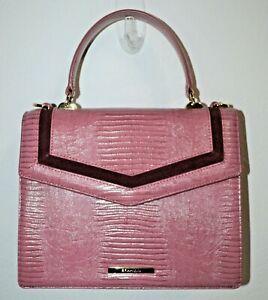 NWT Brahmin Rose Thornfield Textured Leather Mini Francine Satchel Bag Purse