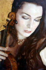 "WILLIAM OXER ORIGINAL CANVAS  ""The Violinist"" Woman Violin Music Girl PAINTING"