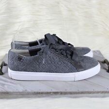 Tory Burch Marion Quilted Lace Up Sneakers Dovestone Gray Felt Leather Size 10
