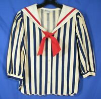 NOTATIONS Vintage BLUE & OFF-WHITE STRIPES TWILL TOP Sailor Top Wide Collar XS/S
