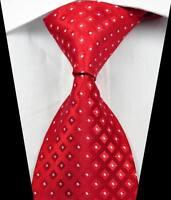 New Classic Patterns Red White JACQUARD WOVEN 100% Silk Men's Tie Necktie