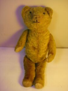 Antique Jointed Swivel Head Straw Stuffed Golden Mohair Teddy Bear (12 inch)