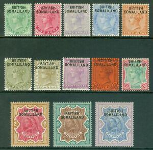 SG 1-13 British Somaliland 1903. ½-5r. Lightly mounted mint set of 13 CAT £130