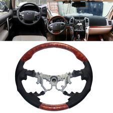 Black Leather Wood Steering Wheel for 2008-2015 Toyota Land Cruiser FJ200 LC200