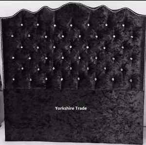 Floor standing  Diamante Crushed Velvet Headboard 60 inch (152cm)  Height