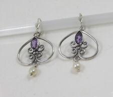 Amethyst - Perle Silber Ohrringe TRACHT 925 STERLING SILVER Earrings