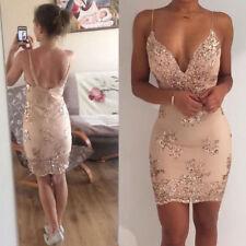 UK Ladies Women Sexy Bodycon Dress Evening Party Short Mini Dress Club Size 6-14