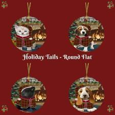 Christmas Stocking Hung Dog Cat Round Falt Christmas Tree Ornament Decor