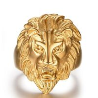 Retro Lion Head Men's Rings Stainless Steel Gold Plated Silver Ring Size 7-15