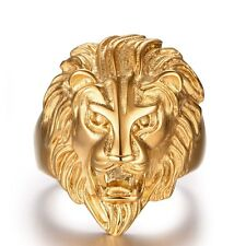 Men's Lion Rings 18k Yellow Gold Filled Stainless Steel Jewelry Size 10