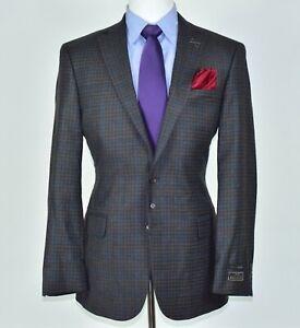 New Jos A Bank x Ethomas Brown Blazer Plaid Check Mens Sport Coat Jacket Sz 42-R