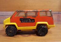 "Vintage 1978 Tonka 4"" Pressed Steel Red Yellow Van Bus #040 USA"