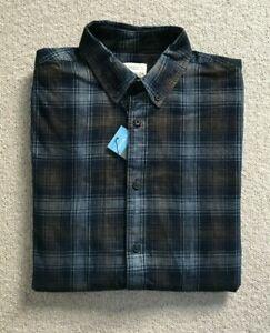 M&S mens Corduroy CHECK shirt SIZE S BLUE WHITE brown RRP £39.50!
