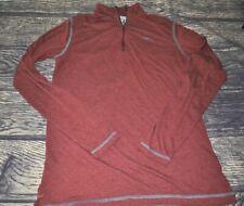 Orvis Trout Bum 1/4 Zip Pullover Sz M Medium Burgundy Long Sleeve T Shirt