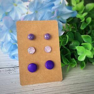 Set of 3 Stud Earrings Handmade Polymer Clay Earrings Set Purple Druzy Button