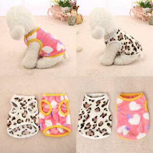 Pet Dog Warm Coat Velvet Jacket Jumper Sweater Puppy Leopard Print Vest Clothes