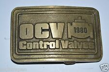 Vintage 1980 OCV Control Valves Water Supply Systems Brass Belt Buckle RARE