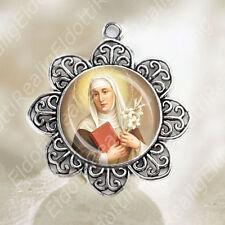 St Catherine of Siena Pendant Flower Shaped Silver Tone Catholic Jewelry