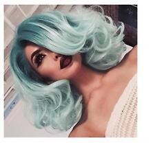 2017 Korean Wigs Fashion Short BOBO Wavy Mint Green Ombre Synthetic Cosplay+Cap