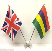 Union Jack GB & Mauritius Friendship Flags Chrome & Satin Table Desk Flag Set