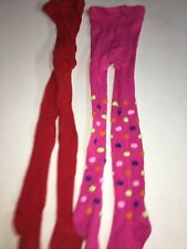 Lot 2 Girls Tights 4-6x Pink With Polka Dots Red Cotton Blend Guc