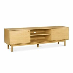 NATSUMI JAPANESE SCANDINAVIAN WOODEN OAK WIDE ENTERTAINMENT UNIT