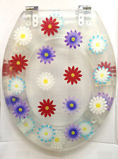 FUNKY FLOWERS FLORAL DARK PINK PURPLE WHITE BLUE YELLOW CLEAR Resin Toilet Seat