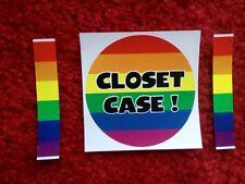 CLOSET CASE BUMPER STICKER Rainbow Pride Gay Lesbian Prank  3 inch Circle