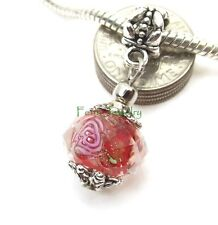 Red Flower Faceted Murano Glass Bead Dangle fit European Charm Bracelet