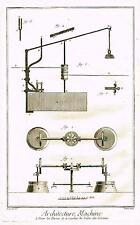 Diderot Enclyclopedie  ARCHITECTURE MACHINE Antique Copper Engraving 1751