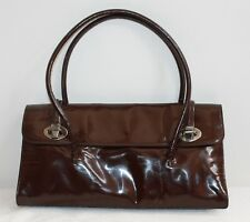 b271f970be40 MIU MIU DARK BROWN PATENT LEATHER DIVIDED TOTE WITH STRAPPING