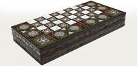 "20"" Mother of Pearl Pattern Laminated Compressed Wood Checkers Backgammon Set"